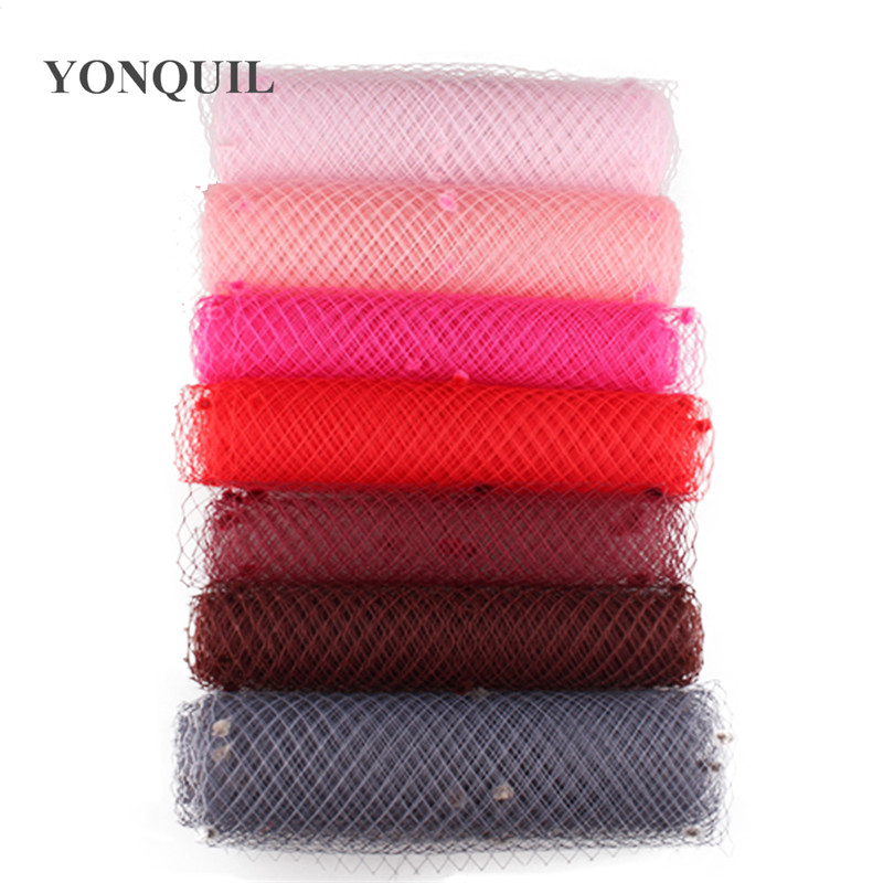 Multiple color mix dot birdcage veil 25CM Width Hair accessories millinery veils DIY bridal netting hat party   headwear   5yard/lot