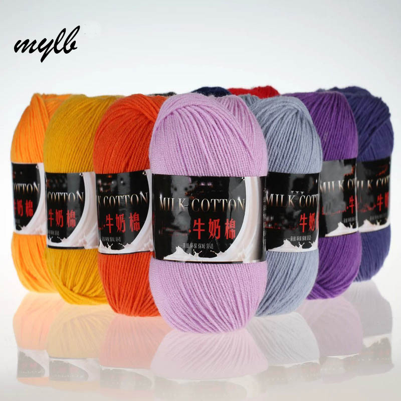Mylb 10ball=500g Three Strands Of Baby Milk Yarn  Cotton Crochet Thread Hand Knitting Wool Line Baby Children Free Shipping