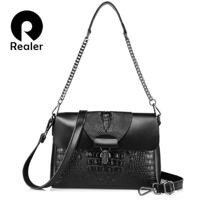 REALER сумка женская через плечо из сплит кожи с крокодиловым принтом высокого качества, дамская сумка с цепочкой, маленькая сумочка для женщин