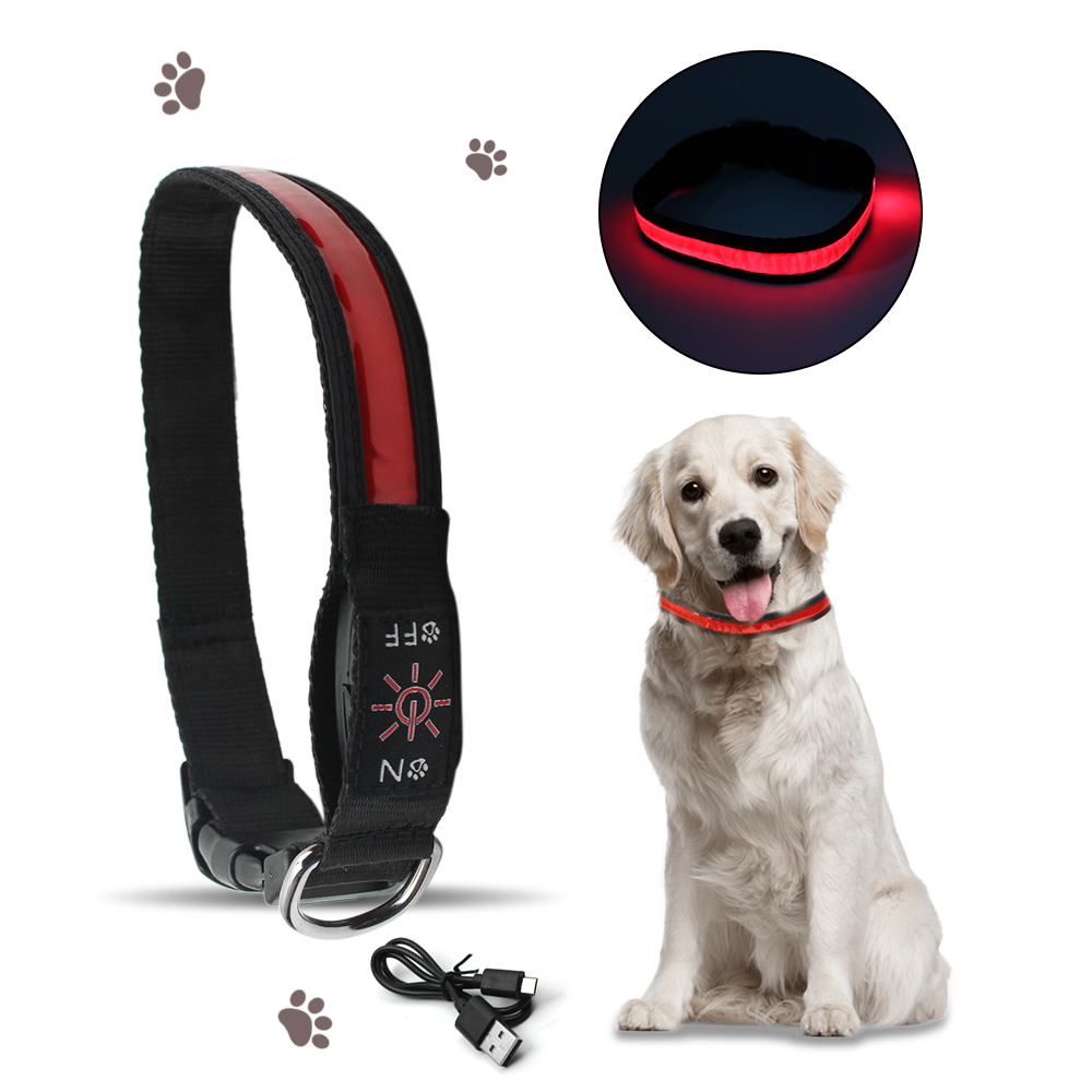 Solar Powered LED Dog Collar Light Glow Leash USB Pet Collars Night Safety Flashing Anti-lost Pet Products Puppy Cat Neck Strap compact cloth sticking footprints pet chain collar dog leash