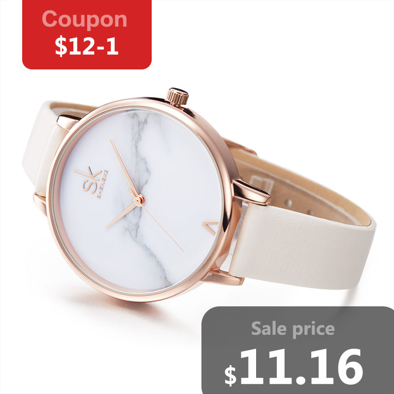 Shengke Fashion Ladies Watches Elegant Female Quartz Watch Women Thin Leather Strap Watch Montre Femme Marble Dial SK free Gift sanda fashion ultra thin dial watch men and women leather strap women quartz wristwatches montre femme clock women couple watch page page 2