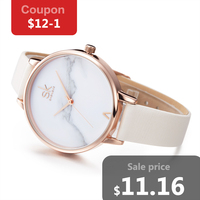 Shengke Fashion Ladies Watches Elegant Female Quartz Watch Women Thin Leather Strap Watch Montre Femme Marble