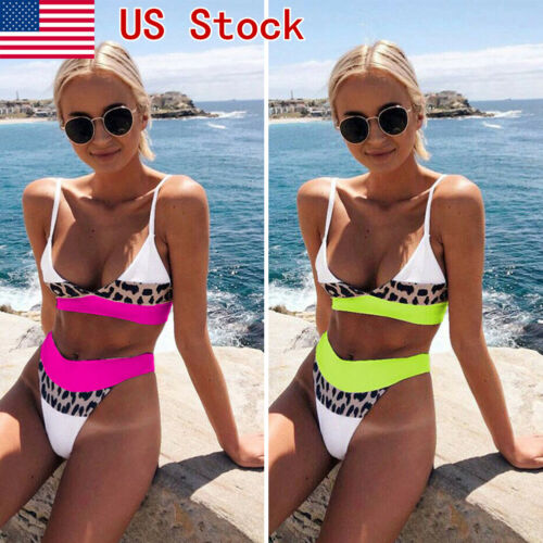 NEW Sexy Women Leopard High Waist Bikini Push-Up Padded Holiday Lady Color Patchwork Swimwear Swimsuit Bathing Suit Beachwear