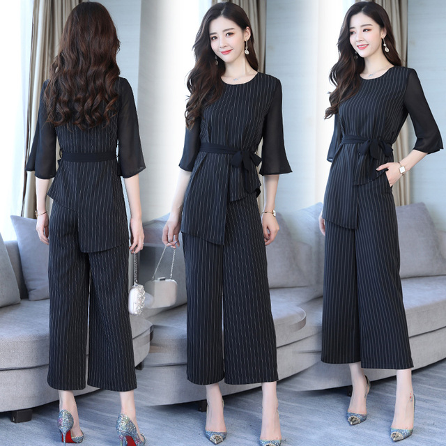 4d097cda51e Large Big Size Striped Two Piece Set Top And Pants Wide Leg Trousers  Women s Suit Bow Tie Stripes Tracksuit Women Palazzo Pant