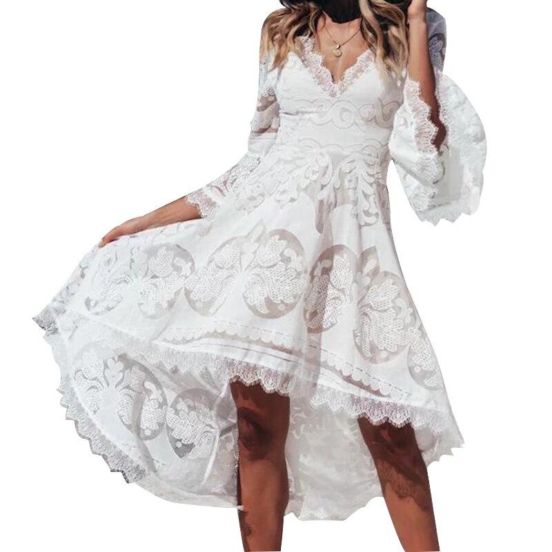 Женское белое кружевное платье Boho с v-образным вырезом и расклешенными рукавами, пляжный сарафан для отдыха, необычные женские сексуальные ...