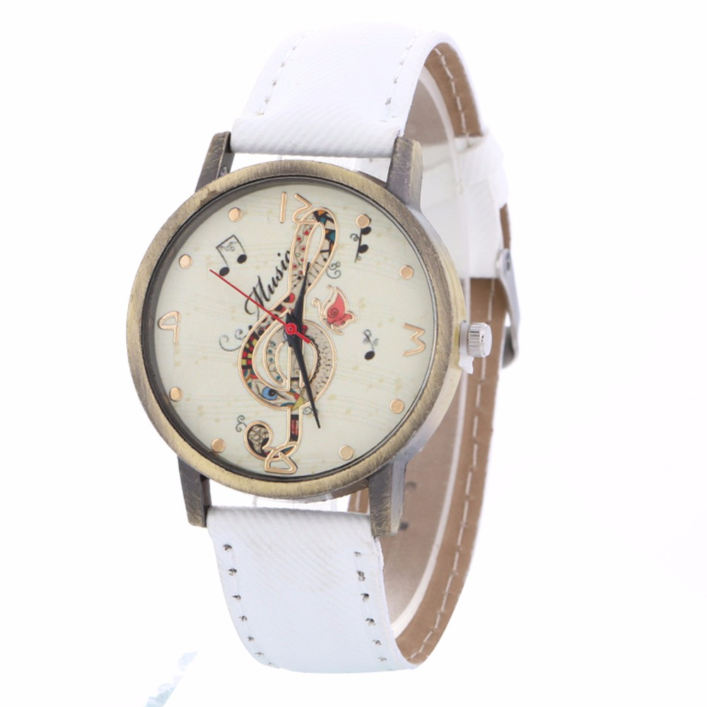 New Fashion Vintage Leather Belt Watches Women Luxury Music Pattern Watches Ladies Quartz Dress Watches Reloj Clock Kol Saat #B