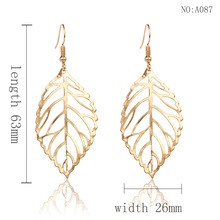 pair of stylish faux turquoise leaf alloy drop earrings for women Simple alloy drop earrings for women fashion fashion personality leaf earrings A26