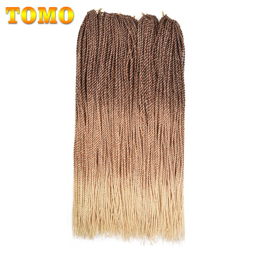 TOMO 24Inch 30Roots Crochet Senegalese Twist Hair Synthetic Hair Extensions Ombre Jumbo Braiding Hair Two Tone