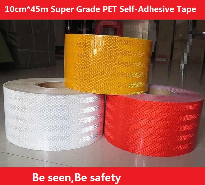 10CM*45M Super Grade PET Reflective Self-adhesive Tape Warning Safety Sticker For Truck Car Motorcycle