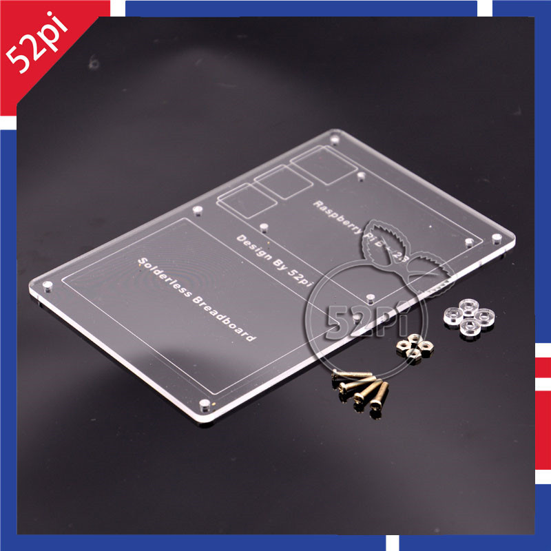Acrylic Mounting Plate For Breadboard And Raspberry Pi 2 Model B