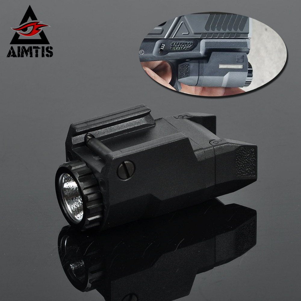 AIMTIS Compact APL Tactical Glock Pistol Light Constant/Momentary/Strobe Flashlight LED White Light For Glock Rails 2018 compact weapon mounted white light for glock full size pistol light 400 lumens tactical hunting apl g3