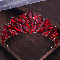 Red Crystal Tiara Crowns Hair Jewelry Rhinestone Headpiece Wedding Pageant Bridal Princess Hairband Hair Accessories Headwear