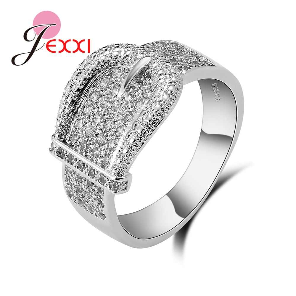 Latest 925 Sterling Silver Rings AAA Cubic Zircon CZ Stone Belt Buckle Design Lovely Women's Big Party Accessories