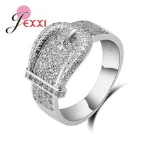 Latest 925 Sterling Silver Rings AAA Cubic Zircon CZ Stone Belt Buckle Design Lovely Women's Big Party Accessories(China)