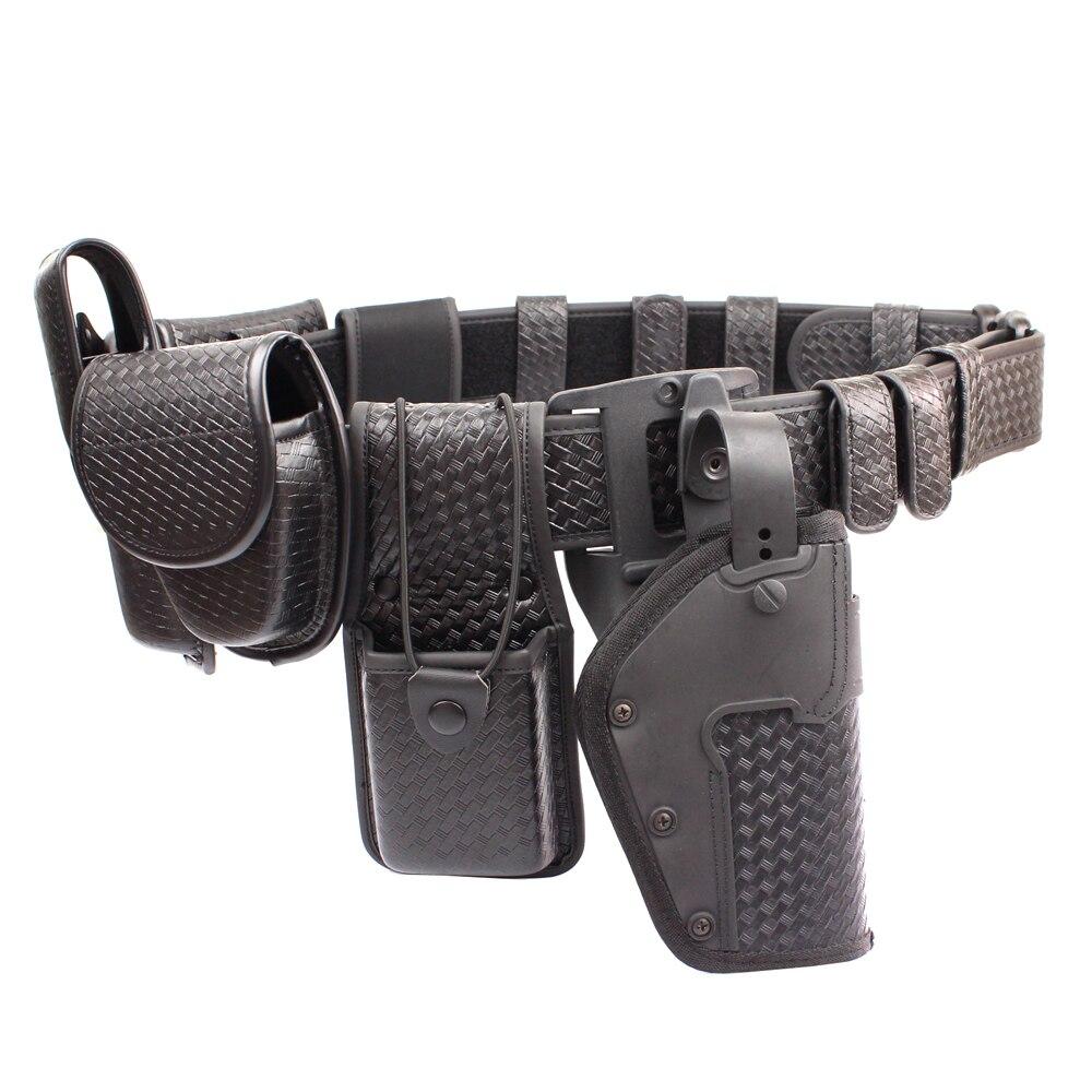Police 10piece Duty Belt Rig Kit Includes Duty Belt cuff Case Radio Holder Belt Keepers MK4 Compact Light Holder Basketweave