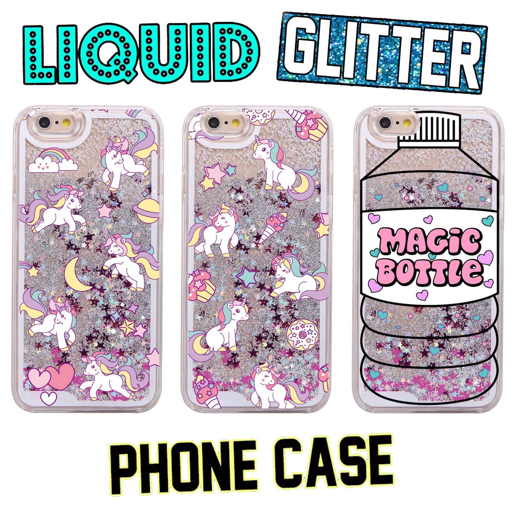 Glitter Liquid Pink Unicorn Magic Bottle Cartoon Hard Case Coque Fundas Capa Para For iPhone 7 7Plus 6 6S 6Plus 5 SE