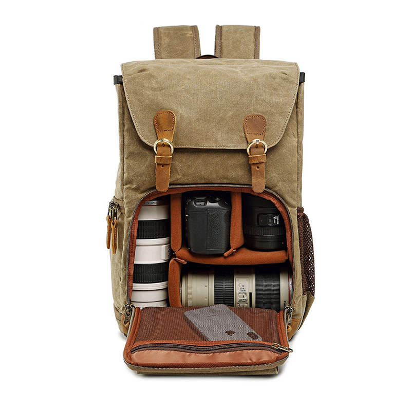 LXH Batik Canvas Waterproof Camera Backpack Photography Bag Large Outdoor Travel Bag For Canon Sony Fujifilm Nikon DSLR Bag