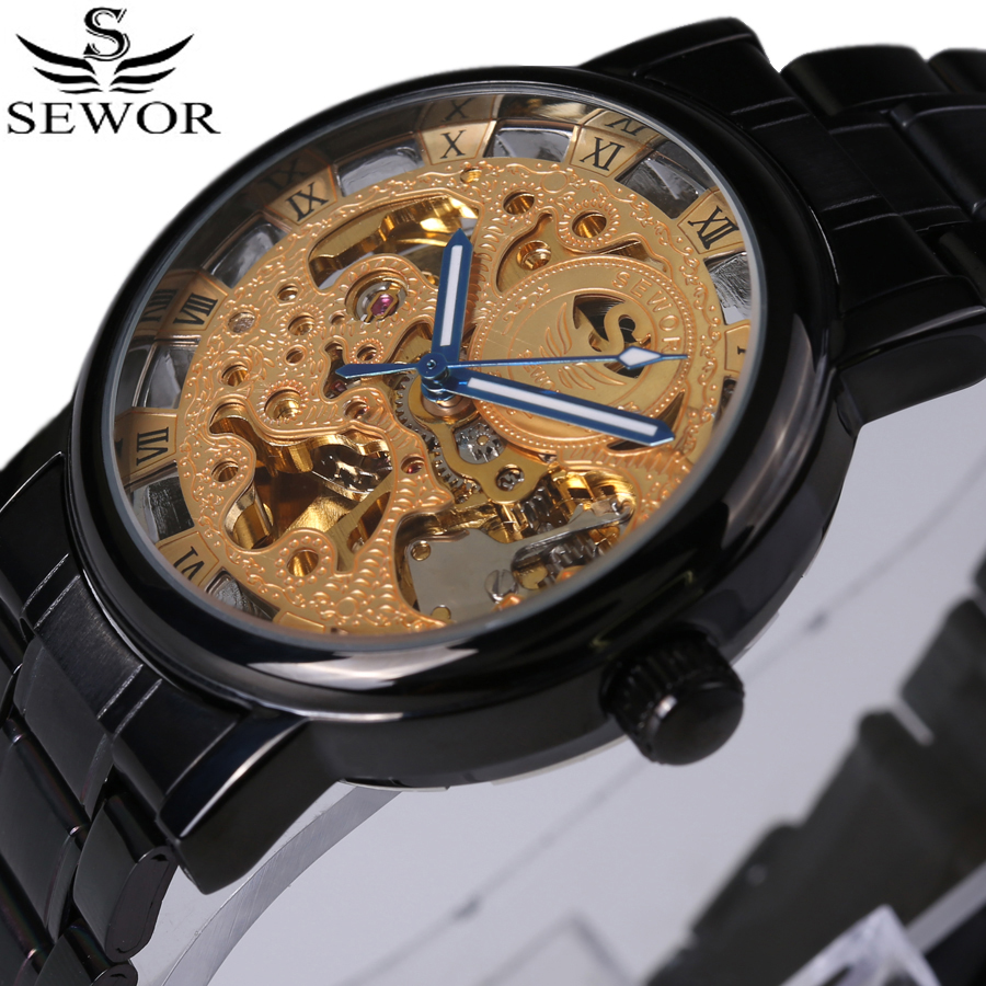SEWOR Classic Design Stainless Steel Case Men Military Watches Top Brand Luxury Automatic Mechanical Skeleton Men's Watch 2017 sewor new arrival luxury brand men watches men s casual automatic mechanical watches diamonds hour stainless steel sports watch