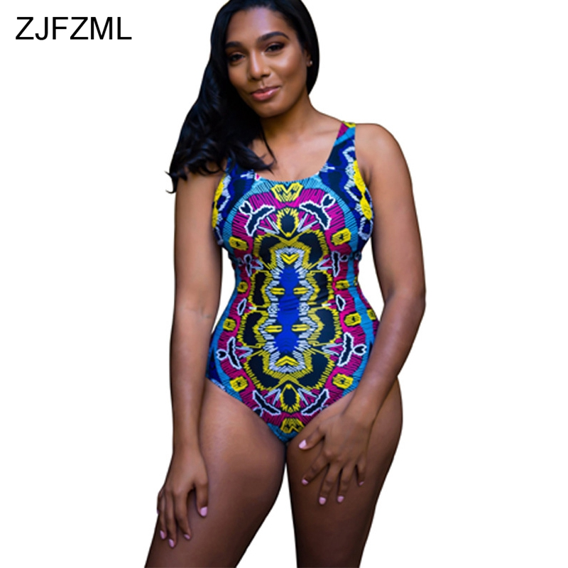 ZJFZML Cross Lace Up Sexy Skinny Bodysuit Women Scoop Neck Sleeveless One Piece Playsuit Summer Backless Print Beachwear Overall