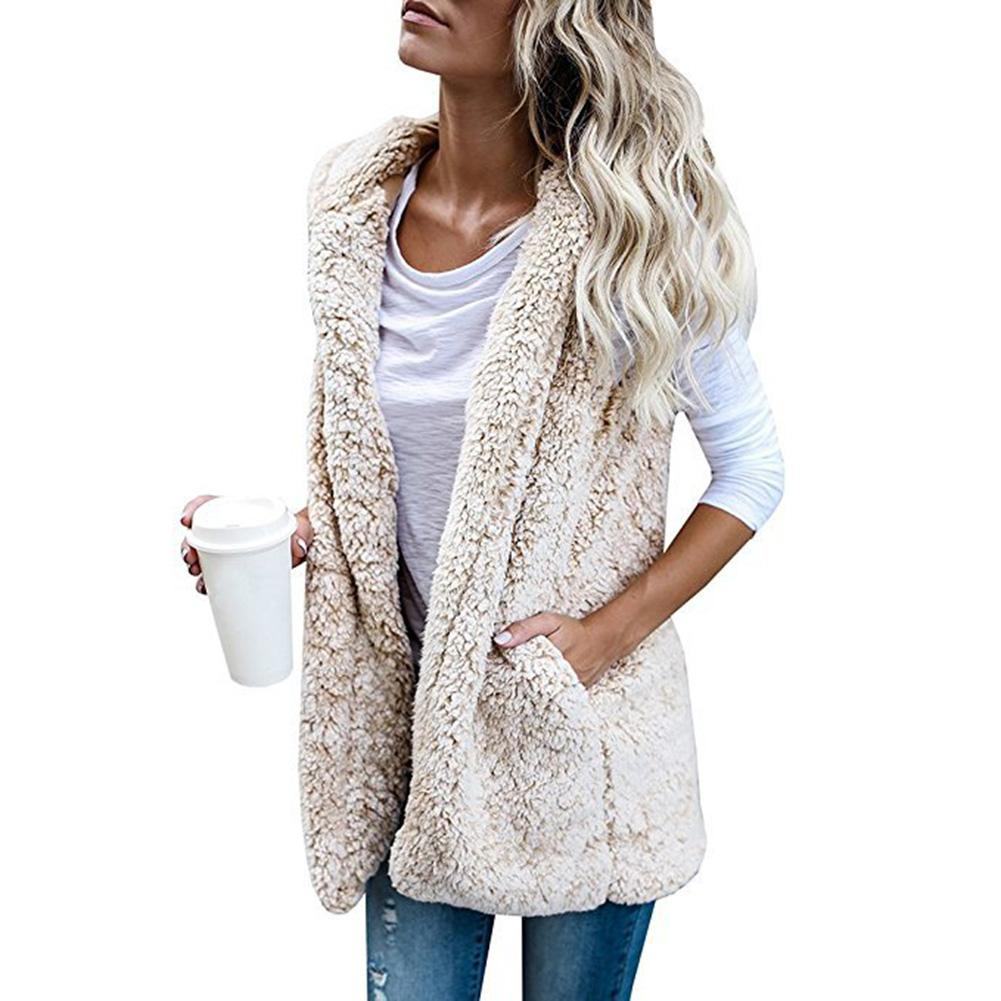 2018 New Winter Plush Cashmere Vest Women Hooded Loose Coat Thicken Lady Fashion Casual Warm Vest Outwear Overcoat Size