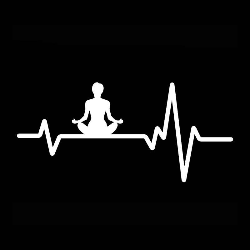 YJZT 15,9 CM * 7,3 CM YOGA Zen Meditation Frau Sitzt Herzschlag Linie Vinyl Schwarz/Silber Auto Aufkleber C22-1156
