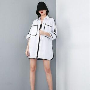 Image 5 - [Eam] 2020 Nieuwe Lente Zomer Revers Half Mouw Pocket Split Joint Losse Big Size Overisze Shirt Vrouwen Blouse mode Tij JT609