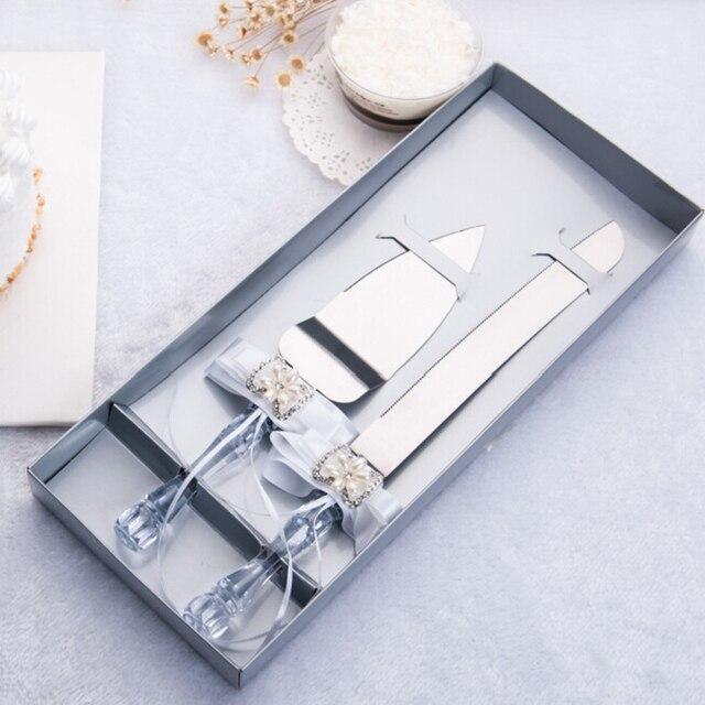 2016 Распродажа свадебных сувениров и подарков Бесплатная доставка персональный нож для свадебного торта Сервировочный набор украшения на з...