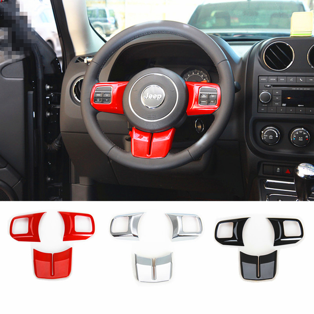 Superior 1Set Interior Accessories ABS Red / Black / Silver Steering Wheel Cover  Trims For Jeep Wrangler