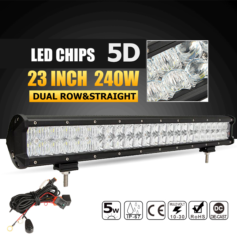 Oslamp 240W 23inch LED Light Bar 5D Combo Offroad Led Work Light Bar Driving Lamp DC12v 24v Truck SUV 4X4 4WD Boat ATV Led Bar 240w led light bar 13 5inch combo beam led bar driving lights 5d lens reflector led off road lights 4x4 suv truck boat utv atv