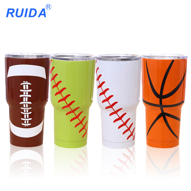 stainless steel vacuum thermos cup Insulation Car Cup Beer  Baseball Cup Hand printing cold insulation cup Outdoor sports RD122