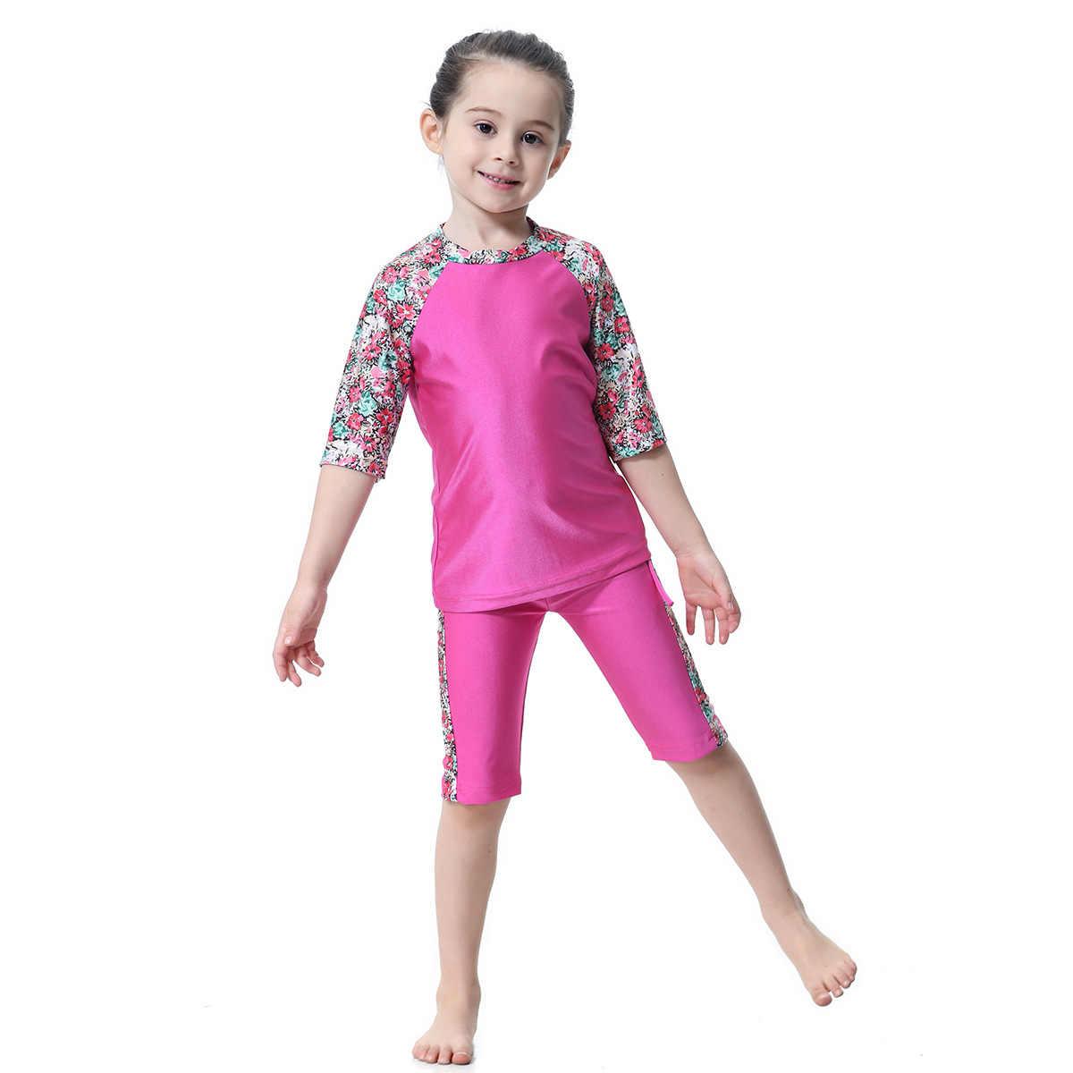 0cad88ad42b7b ... 2019 Muslim Girl Traditional Fashion Swimwear Islamic Swimsuit For Kids  Burkini Abaya Swimming Modest Clothing Short ...