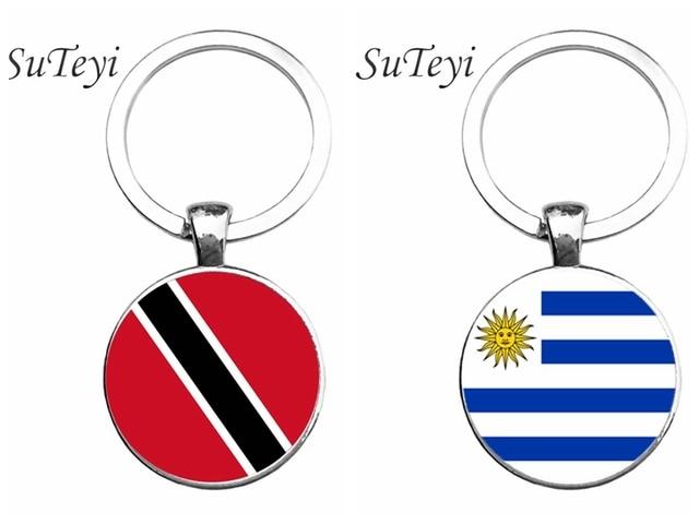 bb24db658 SUTEYI encanto de Trinidad y Tabago y el Uruguay bandera arte clave cadena  bolso clave anillo