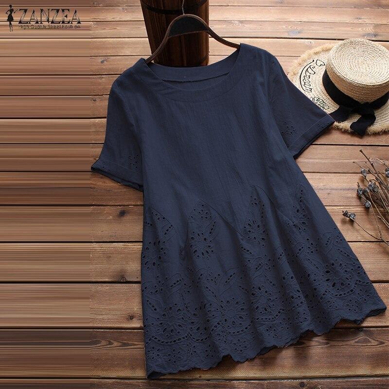 ZANZEA 2020 Summer O Neck Short Sleeve Solid Loose Cotton Linen Top Casual Women Hollow Out Ruffles Blouse Femme Shirt Blusas