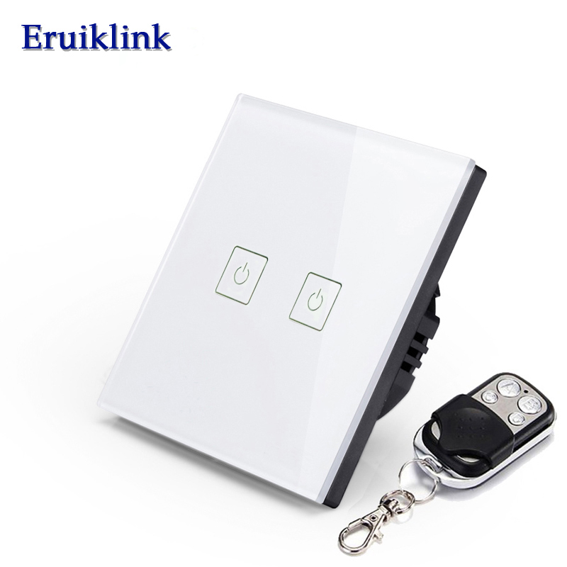ERUIKLINKRemoteControl Switch EU Standard 2 gang 1way Crystal Glass Panel Wall Light Touch Screen SwitchLED IndicatorSmart Home smart home us black 1 gang touch switch screen wireless remote control wall light touch switch control with crystal glass panel