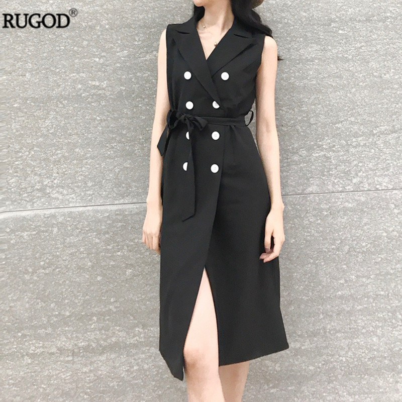 8822c9e3137 RUGOD 2018 New Arrival Office Lady Belted Blazer Dress Women Elegant Double  Breasted Sleeveless Long Jacket