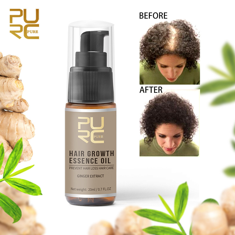 PURC 20ml Hair Growth Essence Oil Ginseng And Ginger Essence Treatment Hair Loss Fast Hair Growth Hair Care Products