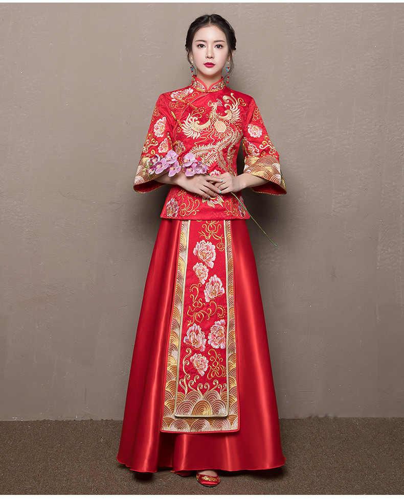 Plus rozmiar 6XL 2020 nowoczesne Cheongsam czerwony Qipao długa tradycyjna chińska suknia ślubna orientalne sukienki w stylu chiny sklep odzieżowy