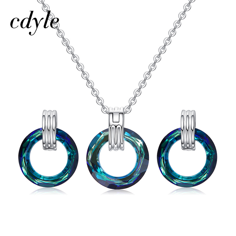 Cdyle Crystal from Swarovski Vintage Circle Pendant Necklace Earrings Set For Women Elegant Round Rhinestone Wedding Jewelry Set pair of elegant rhinestone snowflake earrings for women