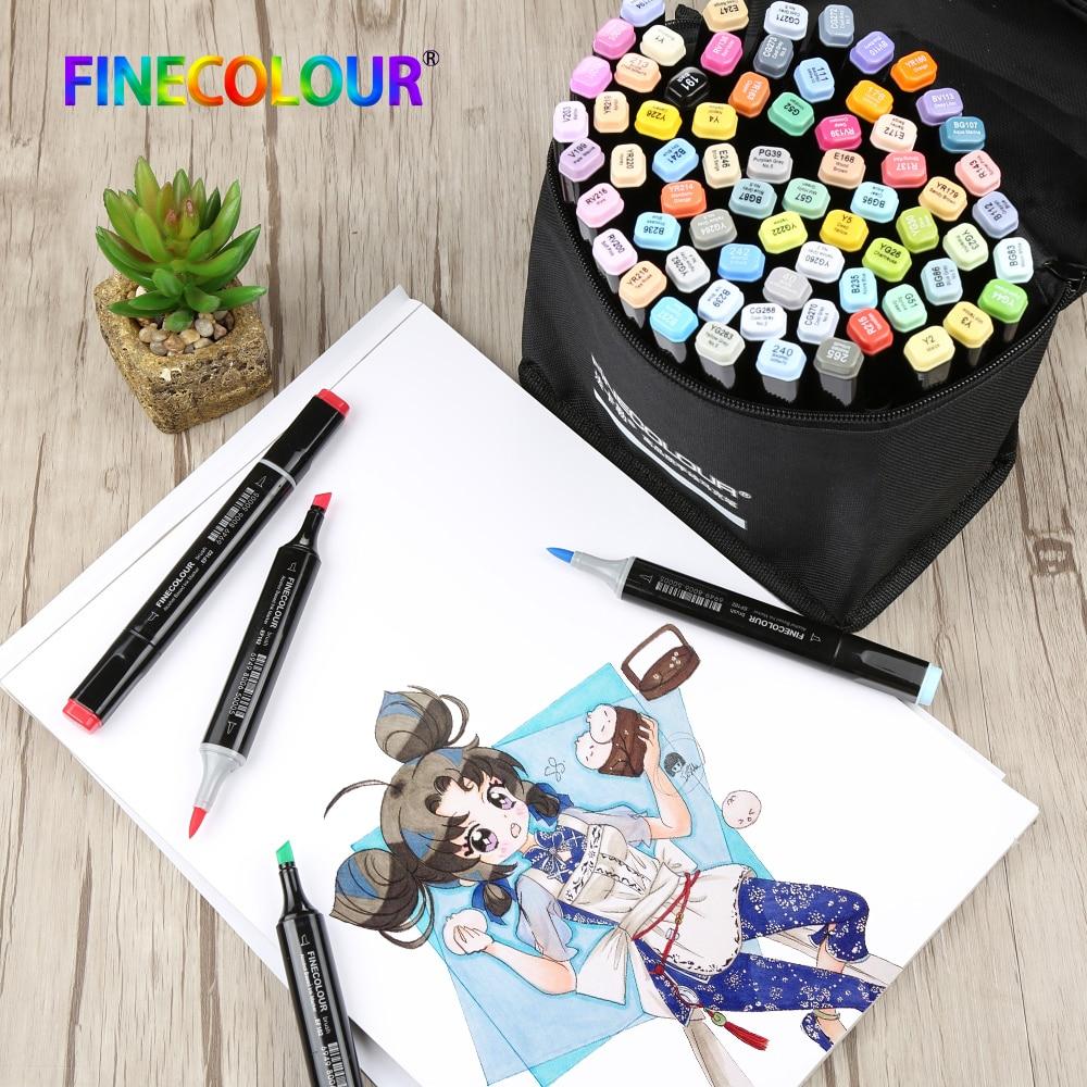 Finecolour EF102 à Double tête Brosse Douce Croquis Marqueur Stylo 240 couleurs + 25 pièces peau couleur Manga Dessin Professionnel Marqueurs D'art