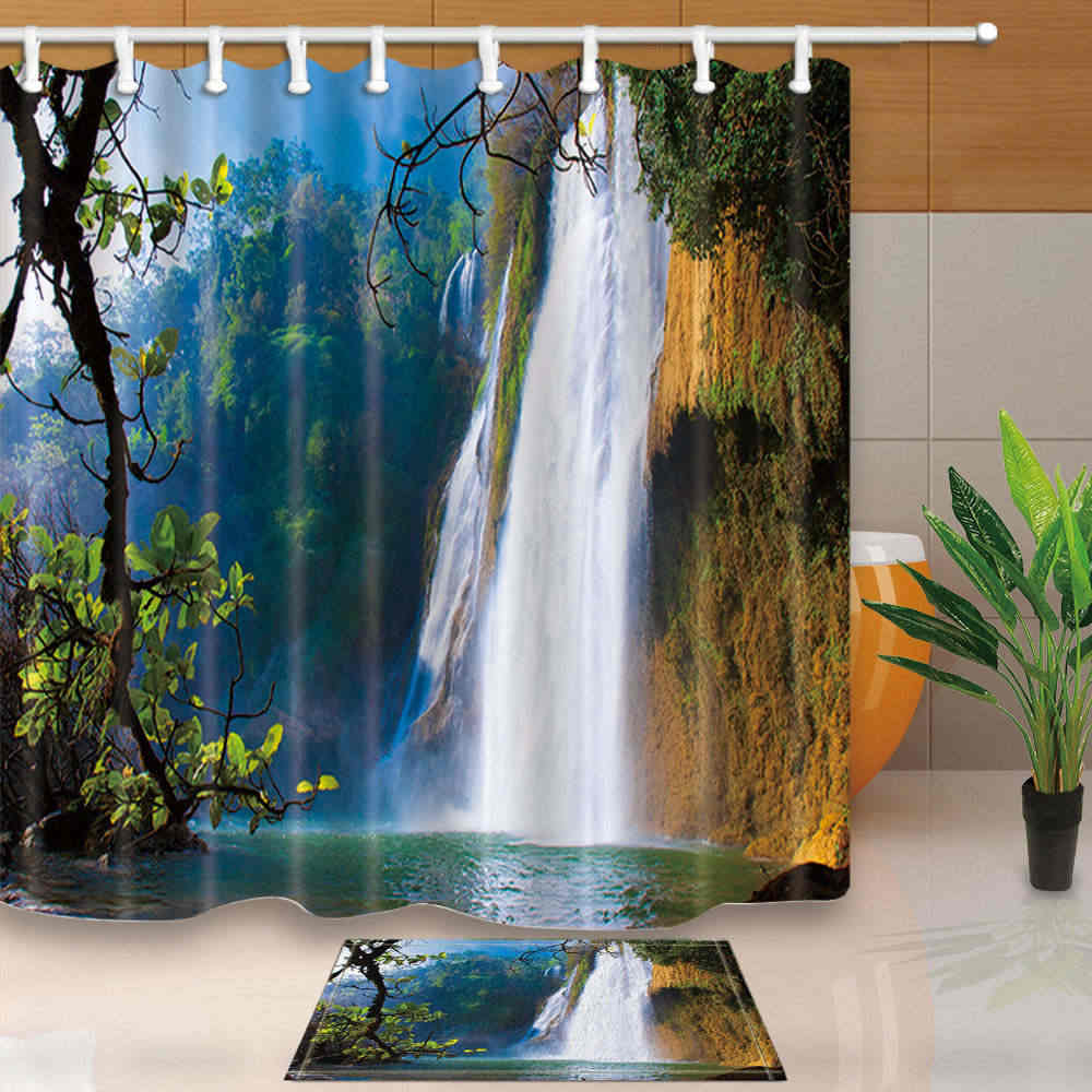 Forest Waterfall Scene Shower Curtain Set Waterproof Fabric Bathroom w//12 Hooks