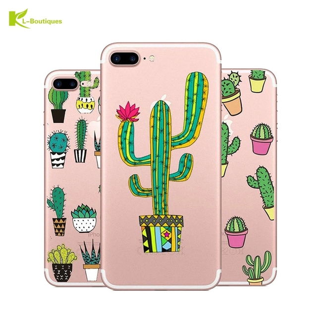 timeless design fa635 2e14a US $0.91 40% OFF|KL Boutiques Soft Silicone Plants Cactus Case For iphone  5s Case Transparent TPU Phone Back Cover For iphone 6 6S 5 SE 7 7Plus -in  ...