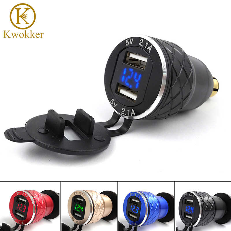 4.2A EU Dual USB Motorcycle Charger 12-24V Scooter USB Moto Charger Adapter Cigarette Lighter For BMW Metal Modified Car Charger