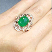 2017 Jewelry Qi Xuan_Fashion Jewelry_Colombia Green Stone Fashion Rings_Plated Rose Gold Woman Rings_Factory Directly Sales