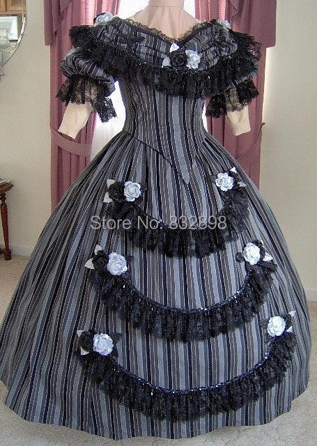 1800 s Viktorianischen Tanzkleid 1860 s Bürgerkrieg Ballkleid Abend ...