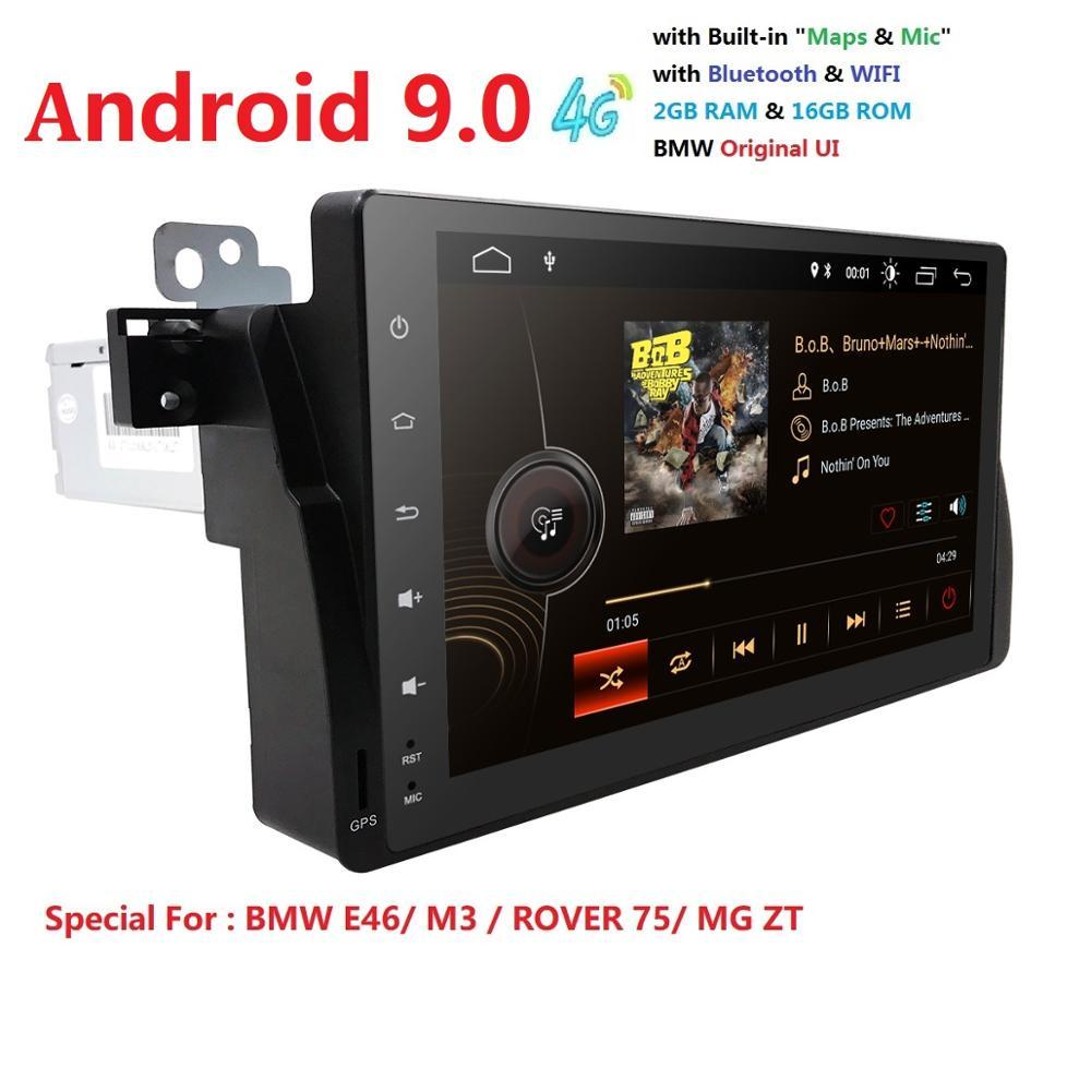 9 pouces 4 QuadCore 2G + 16G Android 9.0 voiture GPS pour BMW E46 Radio multimédia E46 voiture M3 tuning accessoires 4G DAB + DVR RDS SWC BT DTV