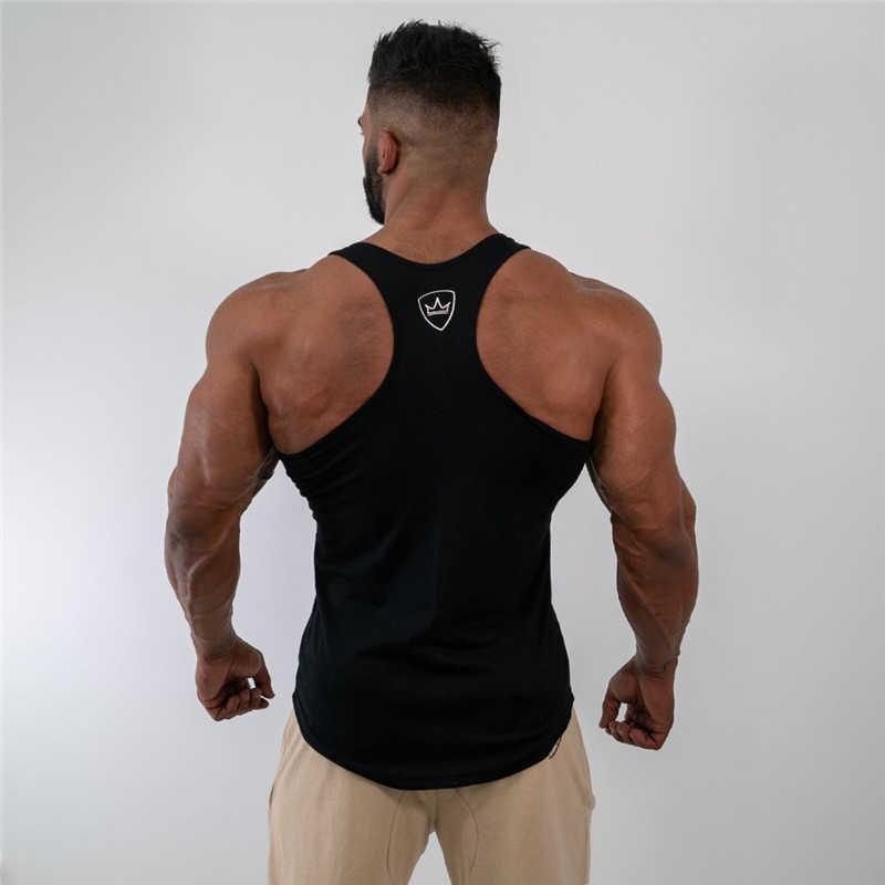 Męska koszulka na ramiączkach topy koszula bezrękawnik na siłownię odzież fitness kamizelka bez rękawów bawełna mężczyzna canotte kulturystyka ropa hombre człowiek odzież nosić