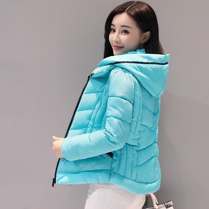 Brieuces Fashion Short Winter Jacket Women Slim Female Coat Thicken   Parka   Cotton Hooded Fur Collar candy-colored Ladies Jacket