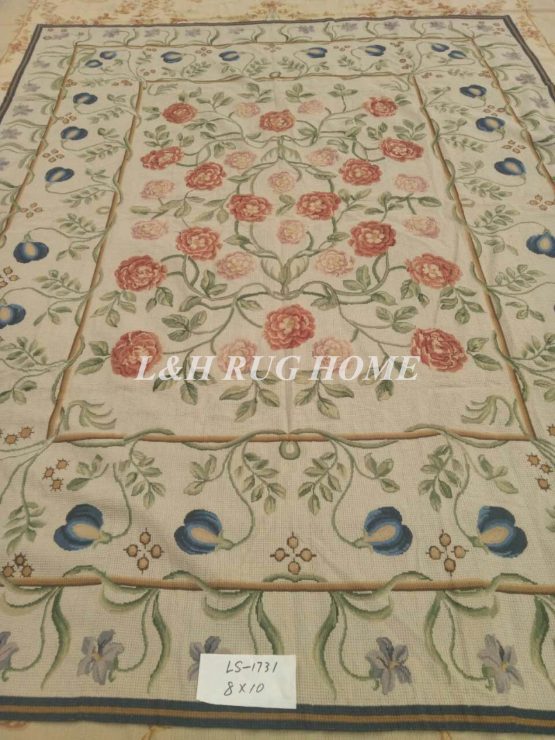 Free Shipping 8'X10' Antique Hand Stitched Needlepoint Rugs, Handmade Wool Rugs Wholesale Prices NEW STORE PROMOTION
