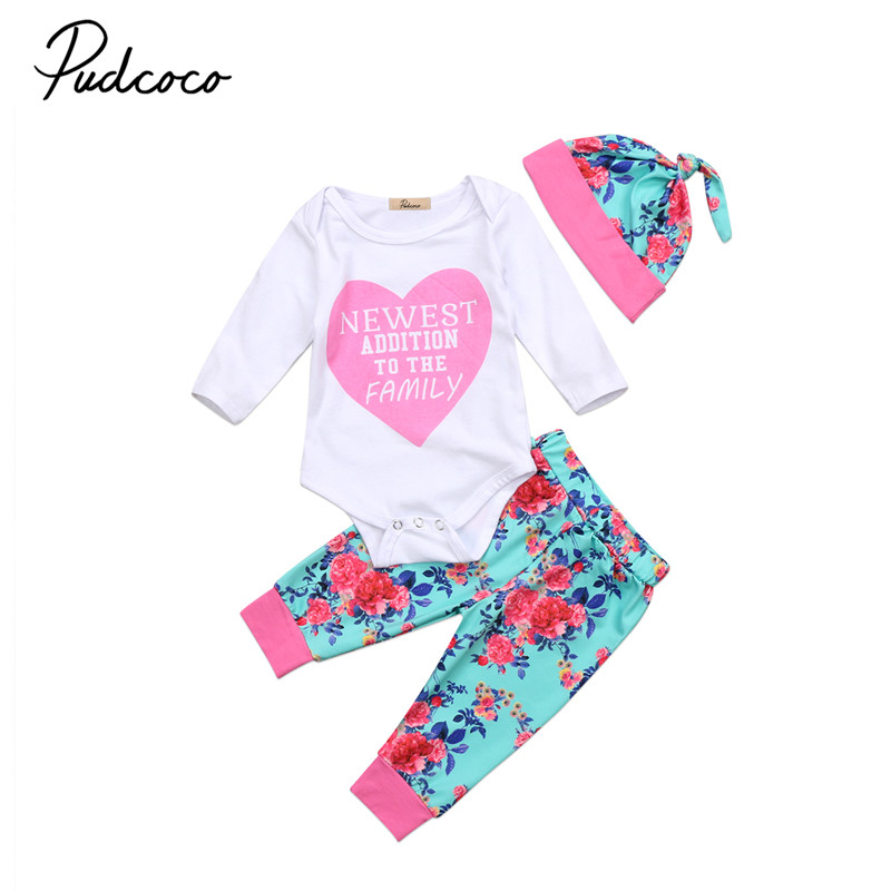 0 to 18M Newborn Baby Girls Clothes High Quality Flower Long Sleeve Romper+Pants +Hat 3pcs Outfits Baby Clothing Set