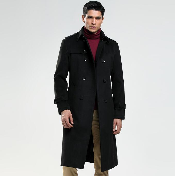 Spring autumn casual woolen coat men trench coats long sleeves England overcoat mens cashmere coat england winter black blue in Wool amp Blends from Men 39 s Clothing